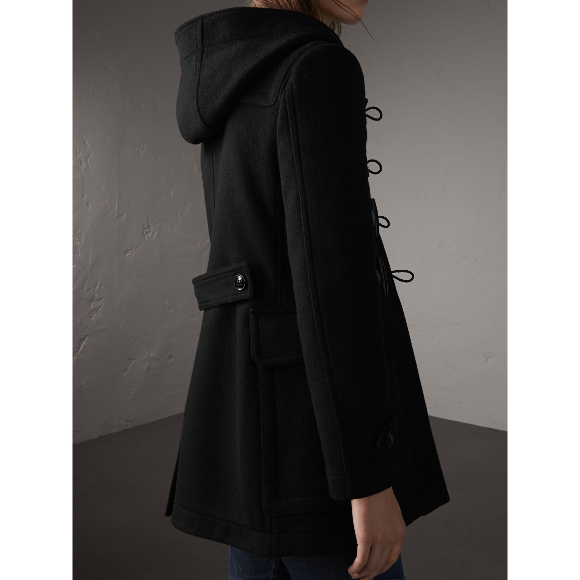 Fitted Wool Duffle Coat in Black - Women | Burberry Canada - gallery image 3