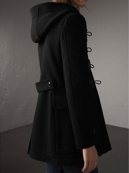 Fitted Wool Duffle Coat in Black - Women   Burberry