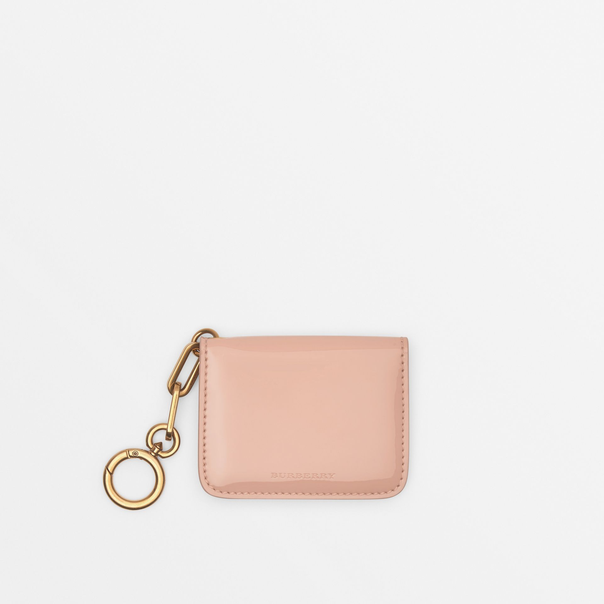 Link Detail Patent Leather ID Card Case Charm in Pale Fawn Pink - Women | Burberry United States - gallery image 0
