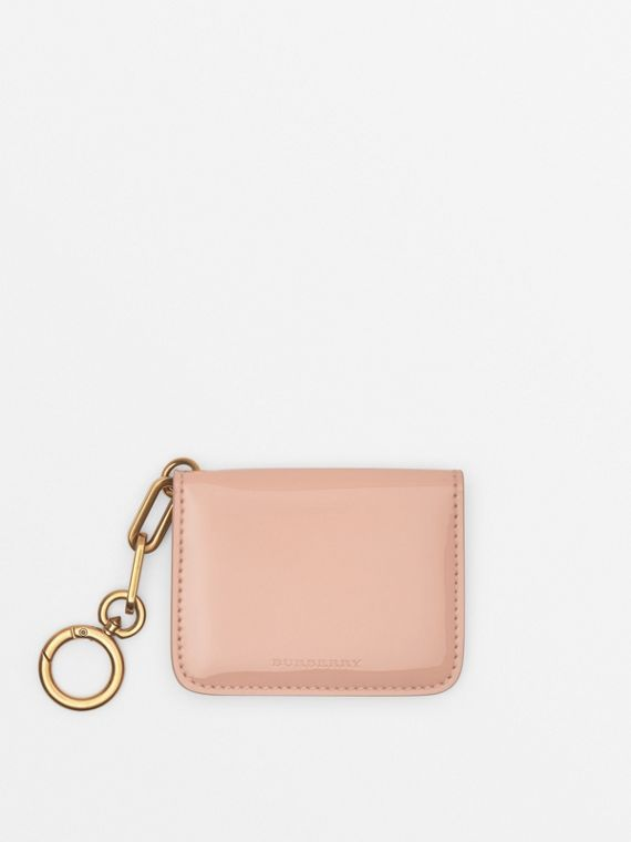 Link Detail Patent Leather ID Card Case Charm in Pale Fawn Pink