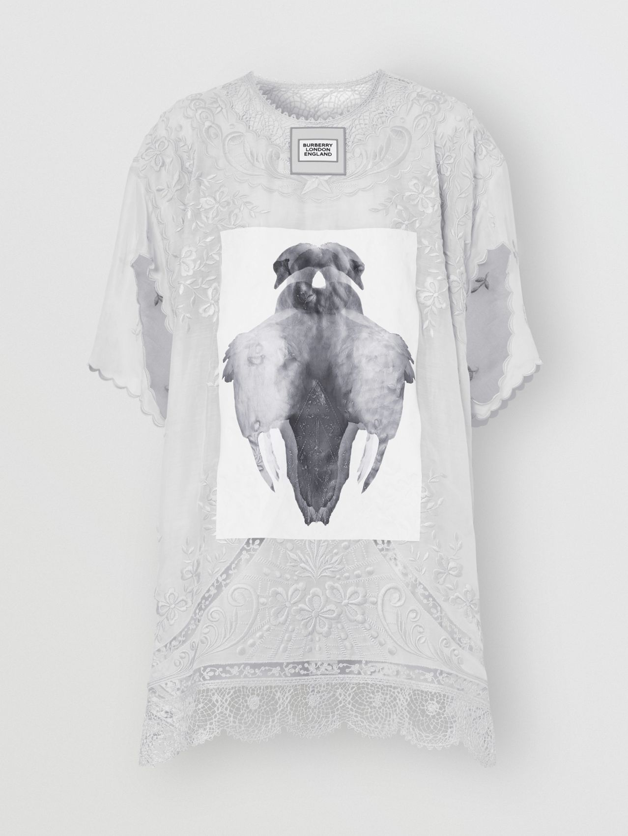 Lace Trim Swan Print Embroidered Cotton Dress in Light Pebble Grey