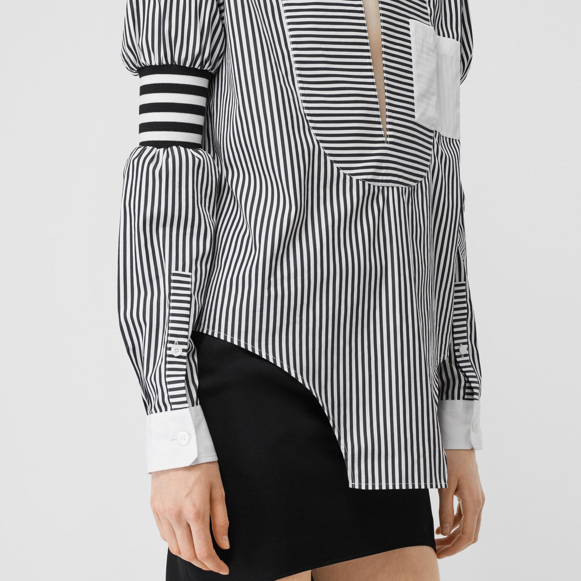 Cut-out Hem Striped Cotton Poplin Shirt in Black - Women | Burberry - gallery image 4