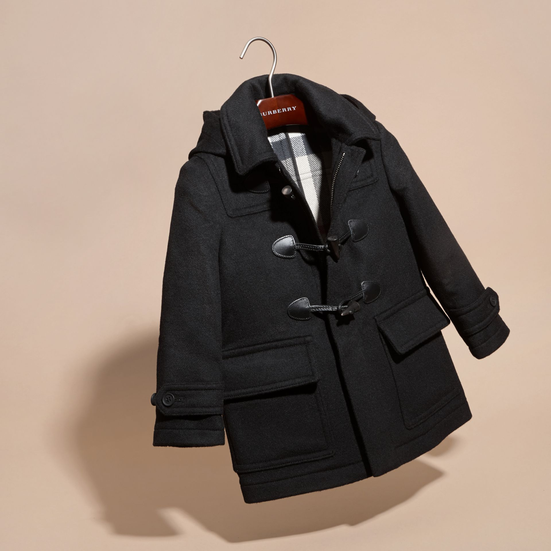 Black Wool Duffle Coat with Check-lined Hood Black - gallery image 3