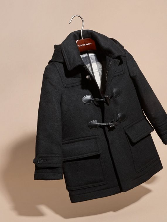 Wool Duffle Coat with Check-lined Hood Black - cell image 2