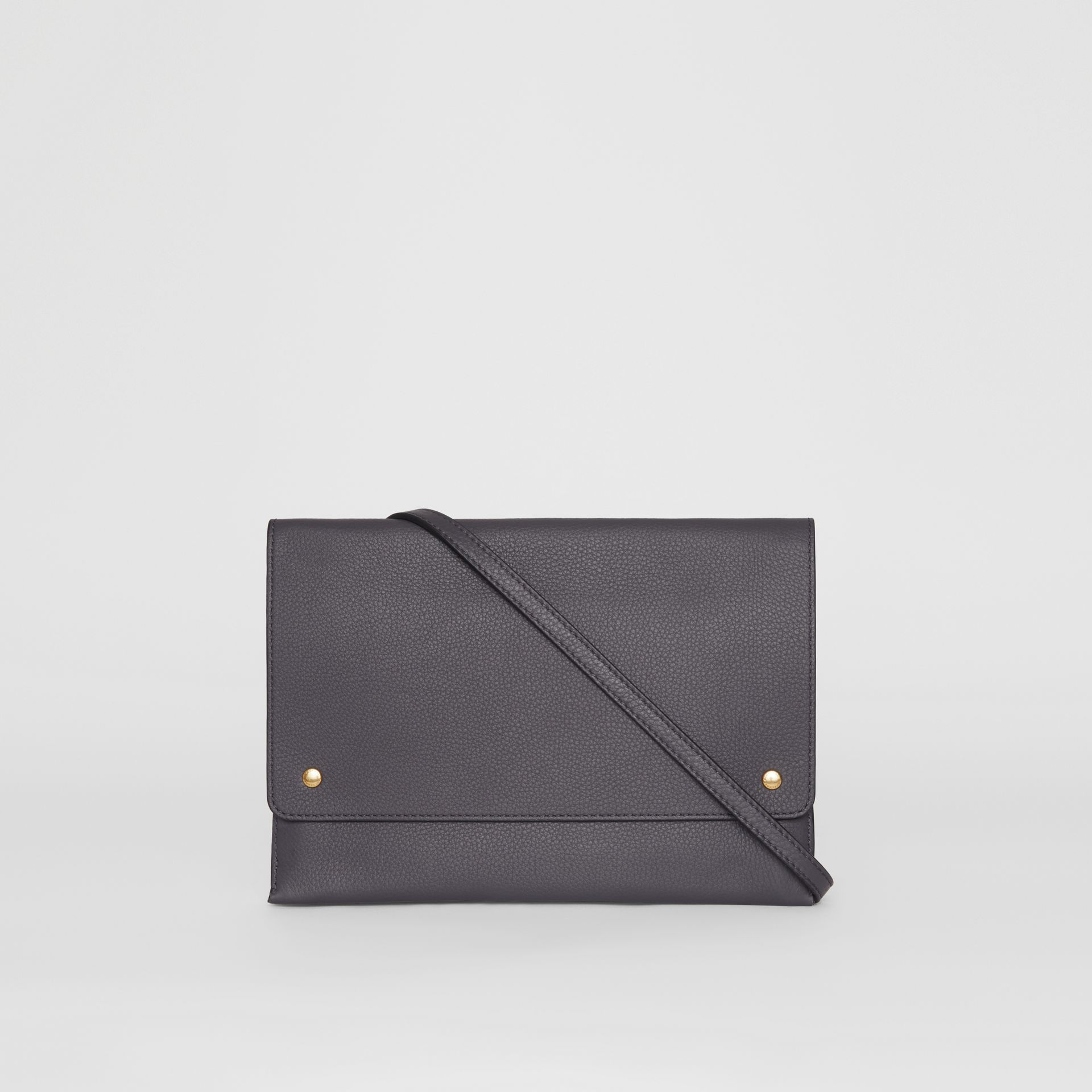 Leather Pouch with Detachable Strap in Charcoal Grey - Women | Burberry - gallery image 5