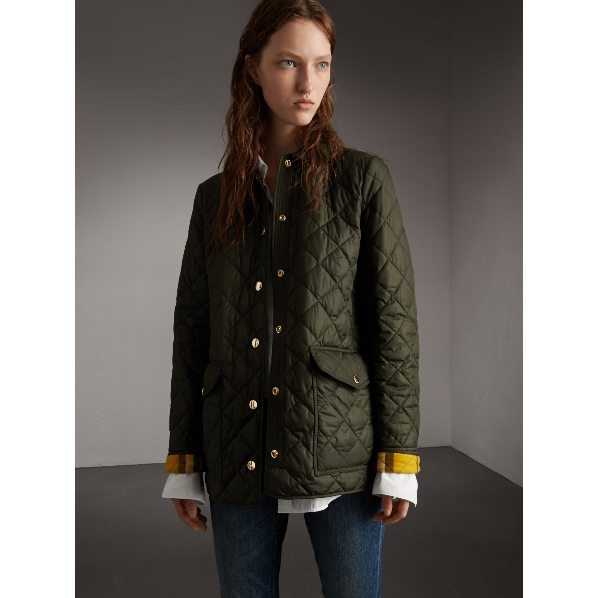 Check Detail Diamond Quilted Jacket in Military Green - Women | Burberry - gallery image 1
