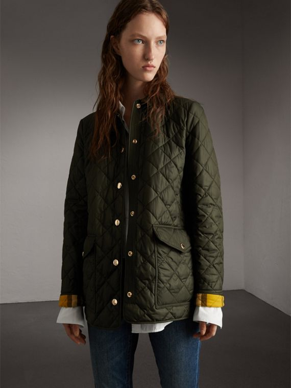 Check Detail Diamond Quilted Jacket in Military Green