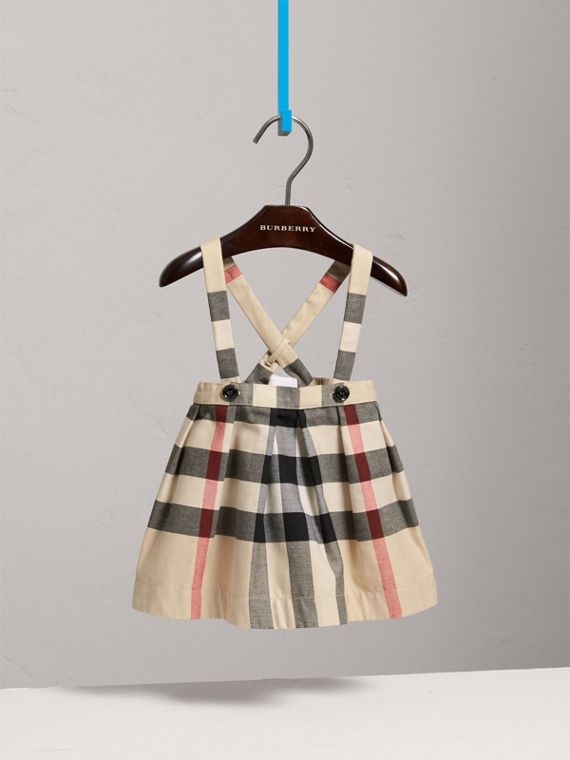 Detachable Strap Check Cotton Skirt in Stone | Burberry - cell image 2