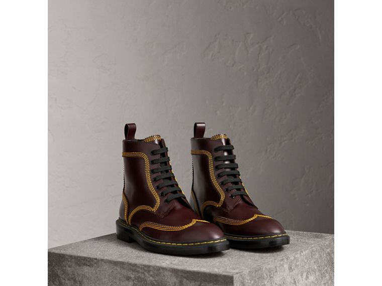Topstitched Leather Derby Boots in Bordeaux - Men | Burberry - cell image 4