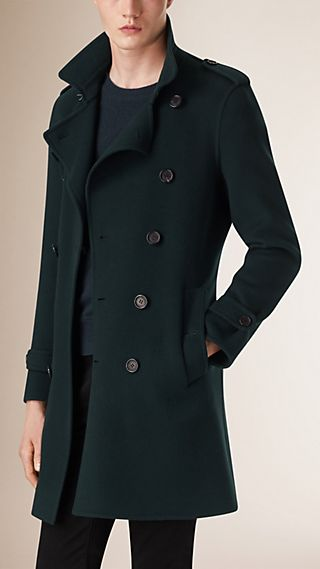 Trench coat in misto lana e cashmere