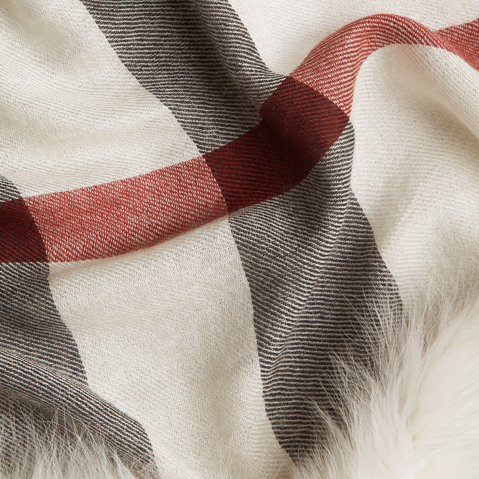 Ivory check Fur Trim Cashmere Check Scarf Ivory - gallery image 2