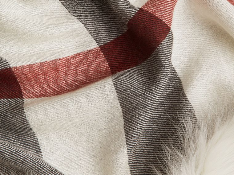 Ivory check Fur Trim Cashmere Check Scarf Ivory - cell image 1