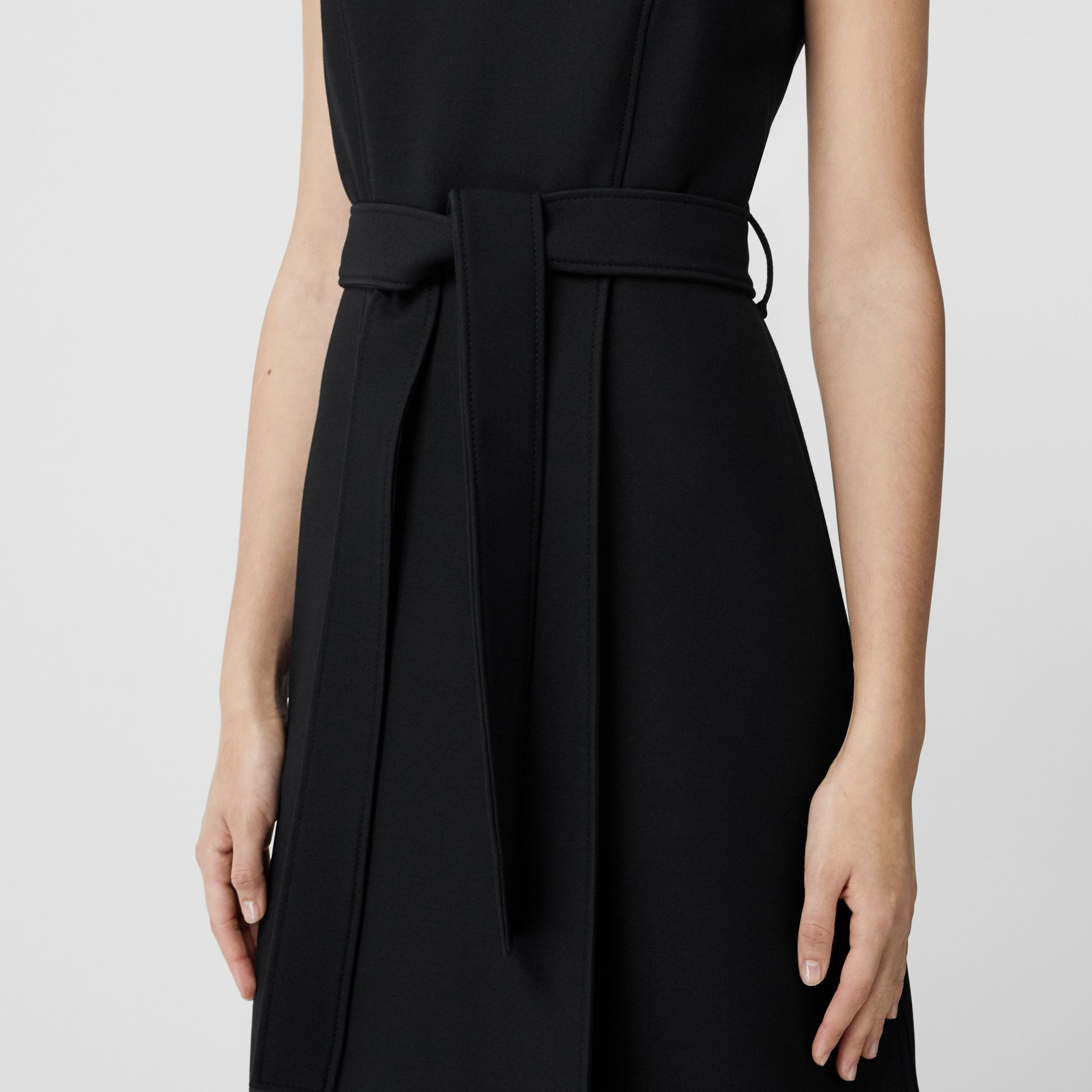 Wool Silk Belted Shift Dress in Black - Women | Burberry - gallery image 4