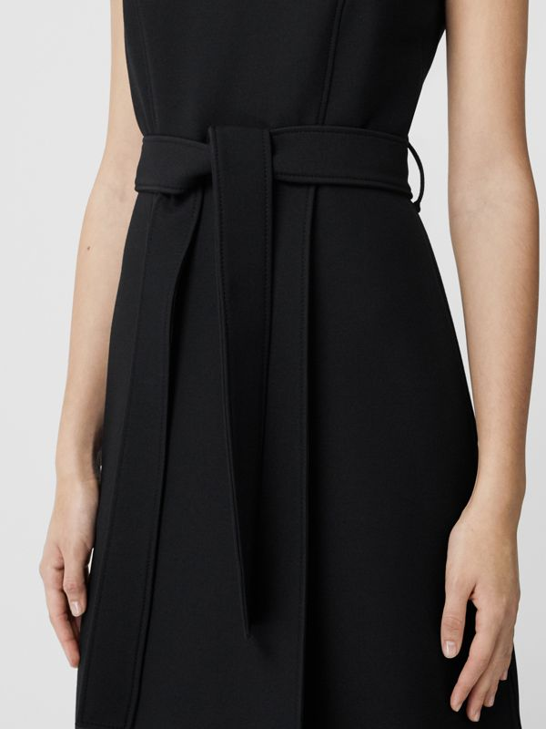 Wool Silk Belted Shift Dress in Black - Women | Burberry - cell image 3