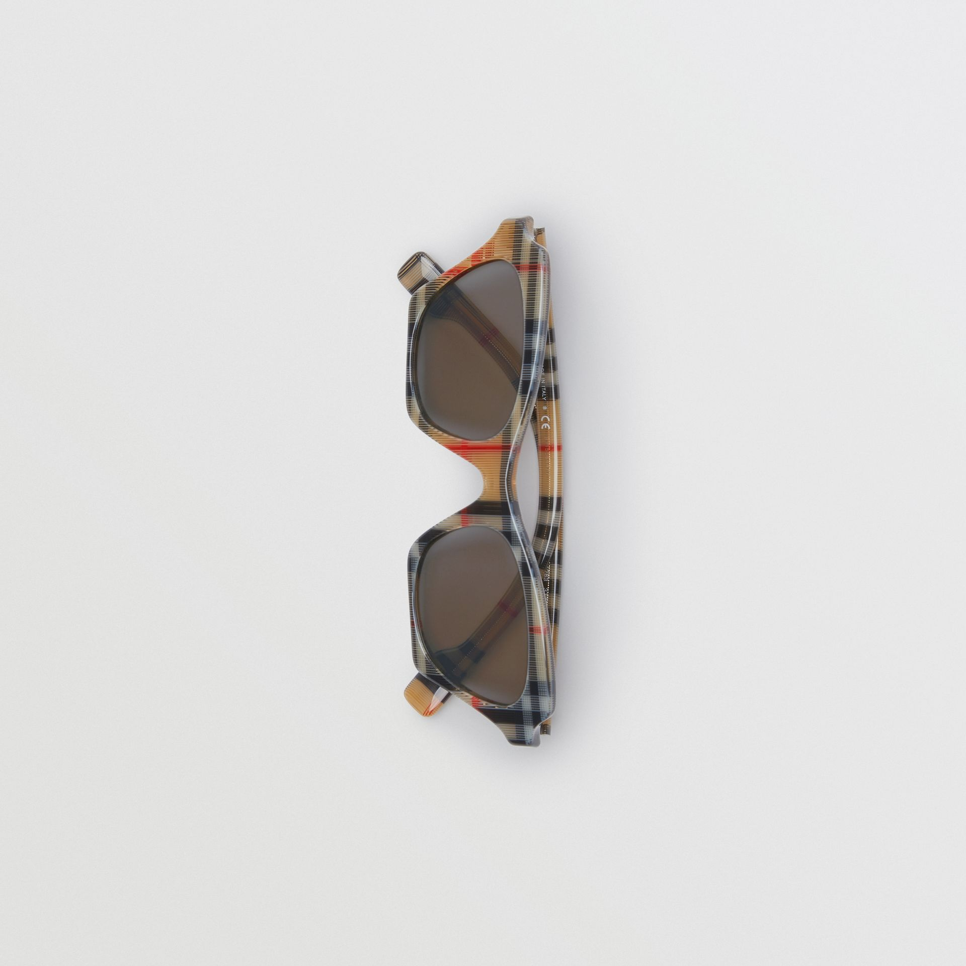 Vintage Check Butterfly Frame Sunglasses in Antique Yellow - Women | Burberry Canada - gallery image 3
