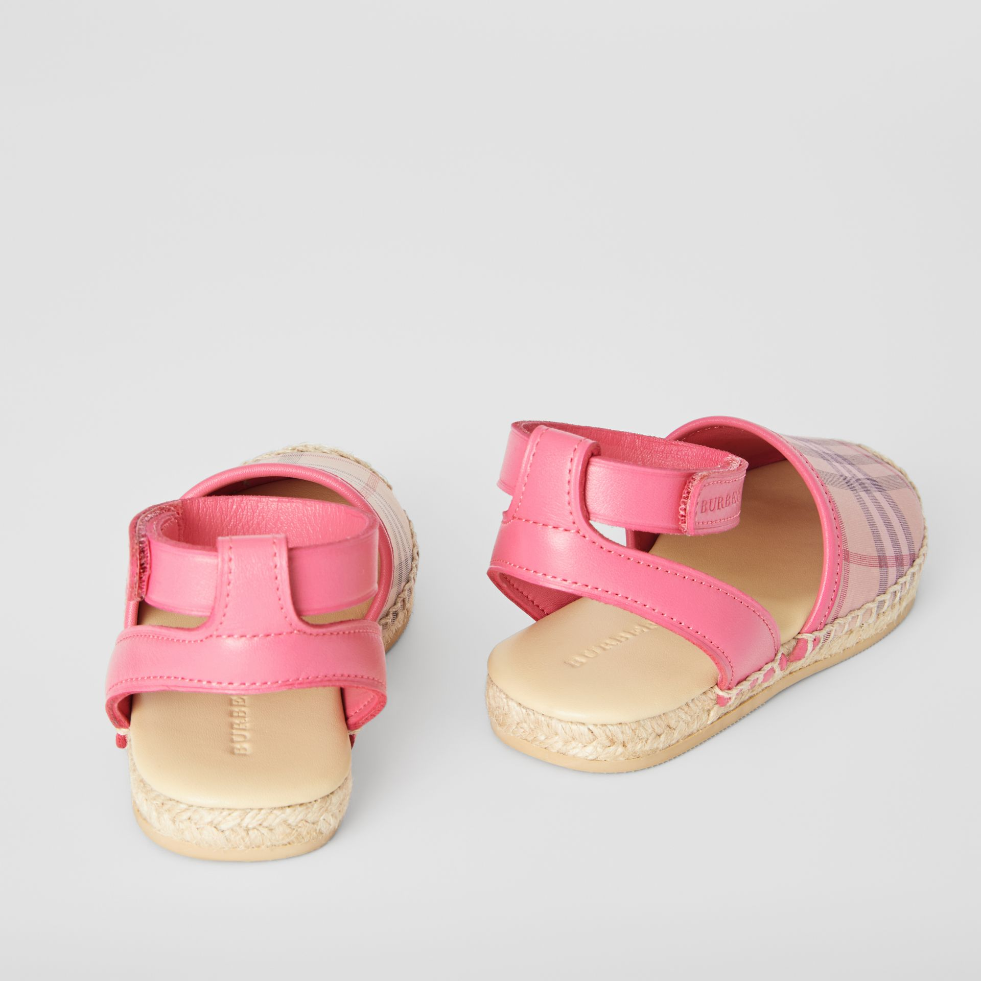Check and Leather Espadrille Sandals in Bright Rose - Children | Burberry - gallery image 2