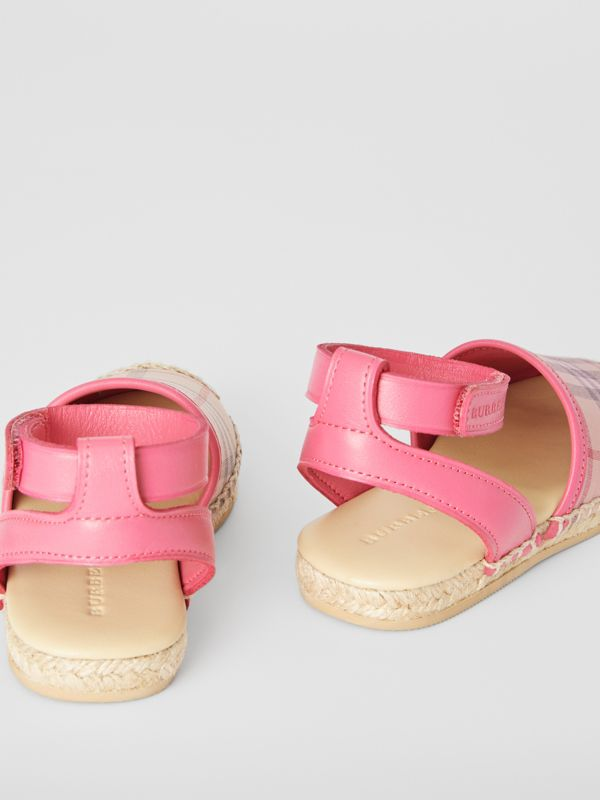 Check and Leather Espadrille Sandals in Bright Rose - Children | Burberry Singapore - cell image 2
