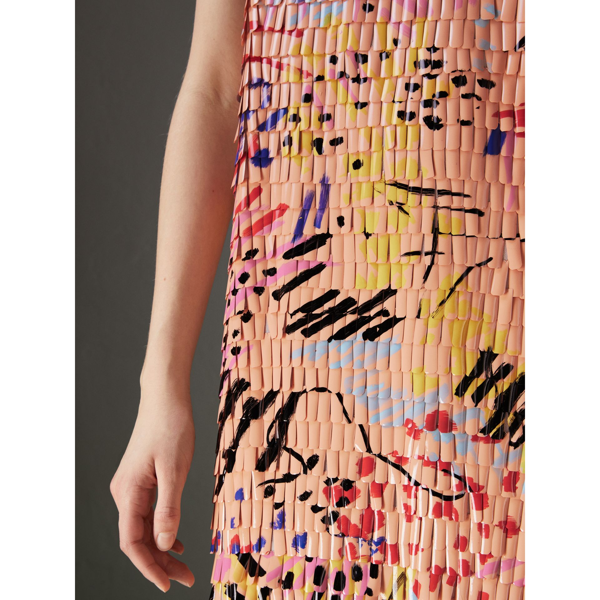 Painted Paillette Sleeveless Dress in Orange - Women | Burberry - gallery image 1