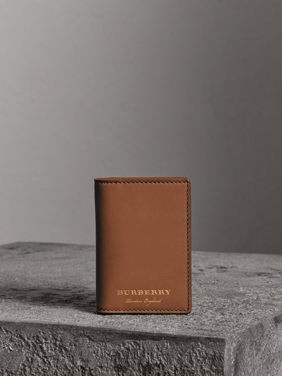 Trench Leather Folding Card Case in Tan