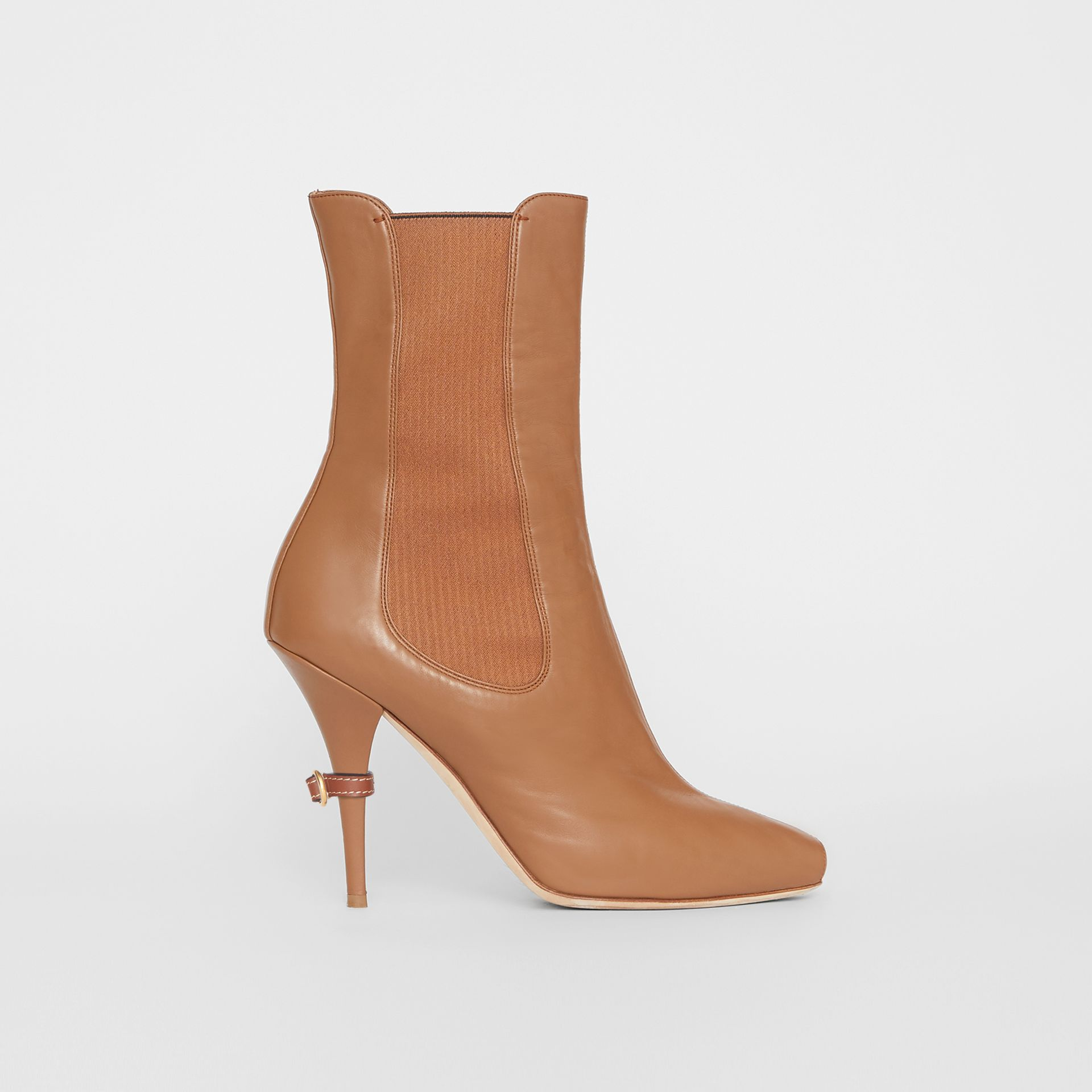 Leather Peep-toe Ankle Boots in Amber Brown - Women | Burberry - gallery image 4
