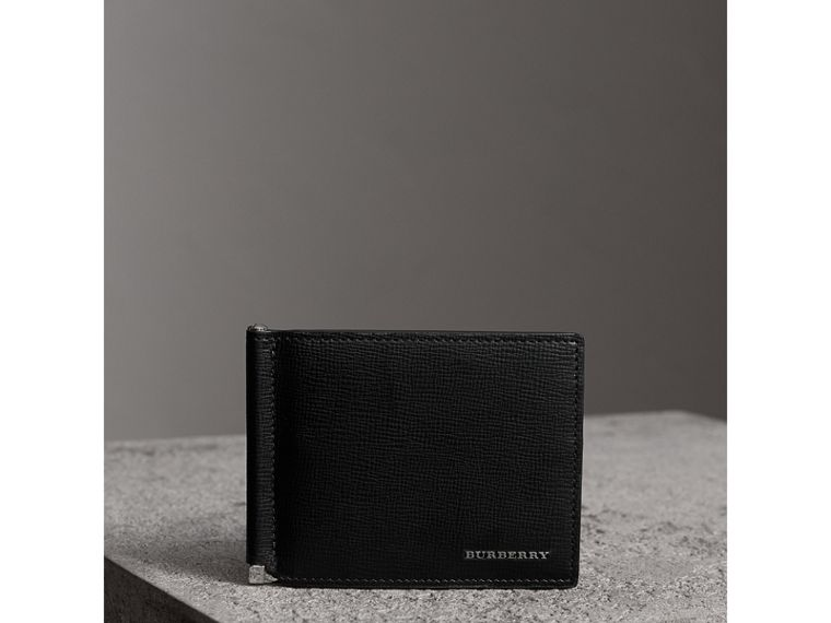 London Leather Money Clip Card Wallet in Black - Men | Burberry United States - cell image 4