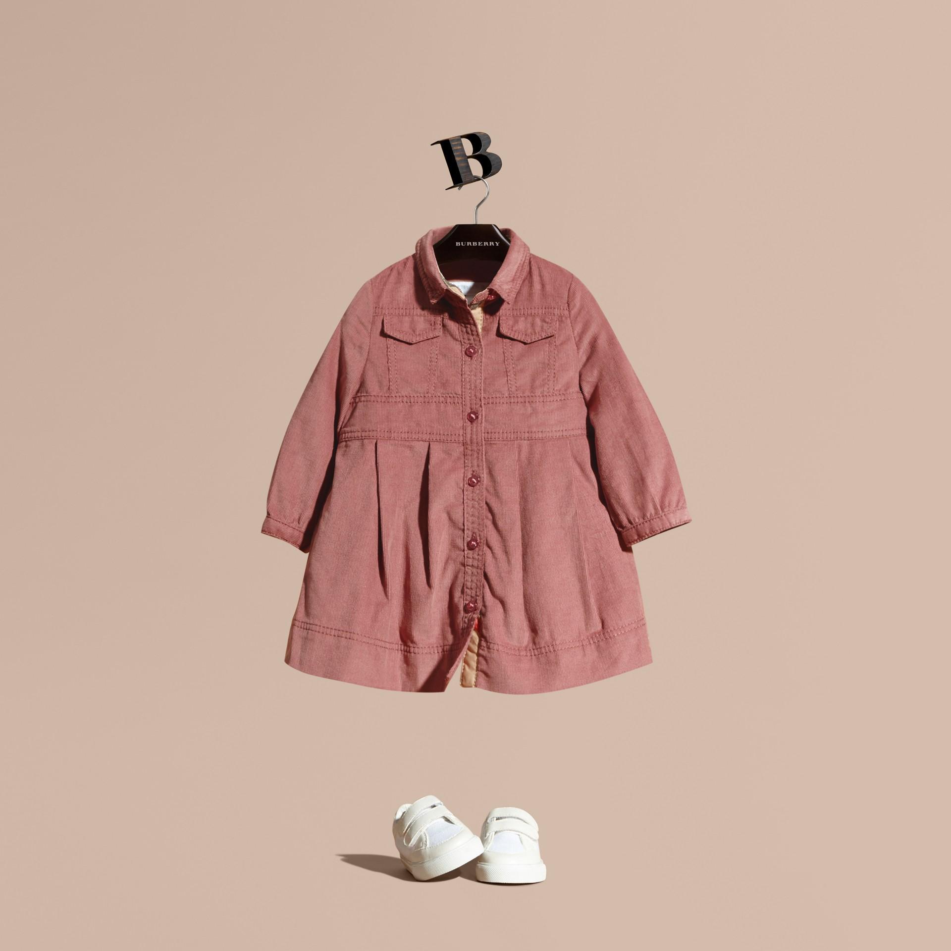 Rosa cenere pallido Abito chemisier in corduroy di cotone Rosa Cenere Pallido - immagine della galleria 1