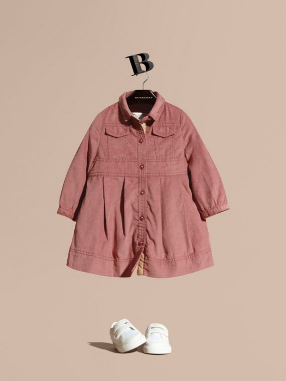 Cotton Corduroy Shirt Dress Pale Ash Rose