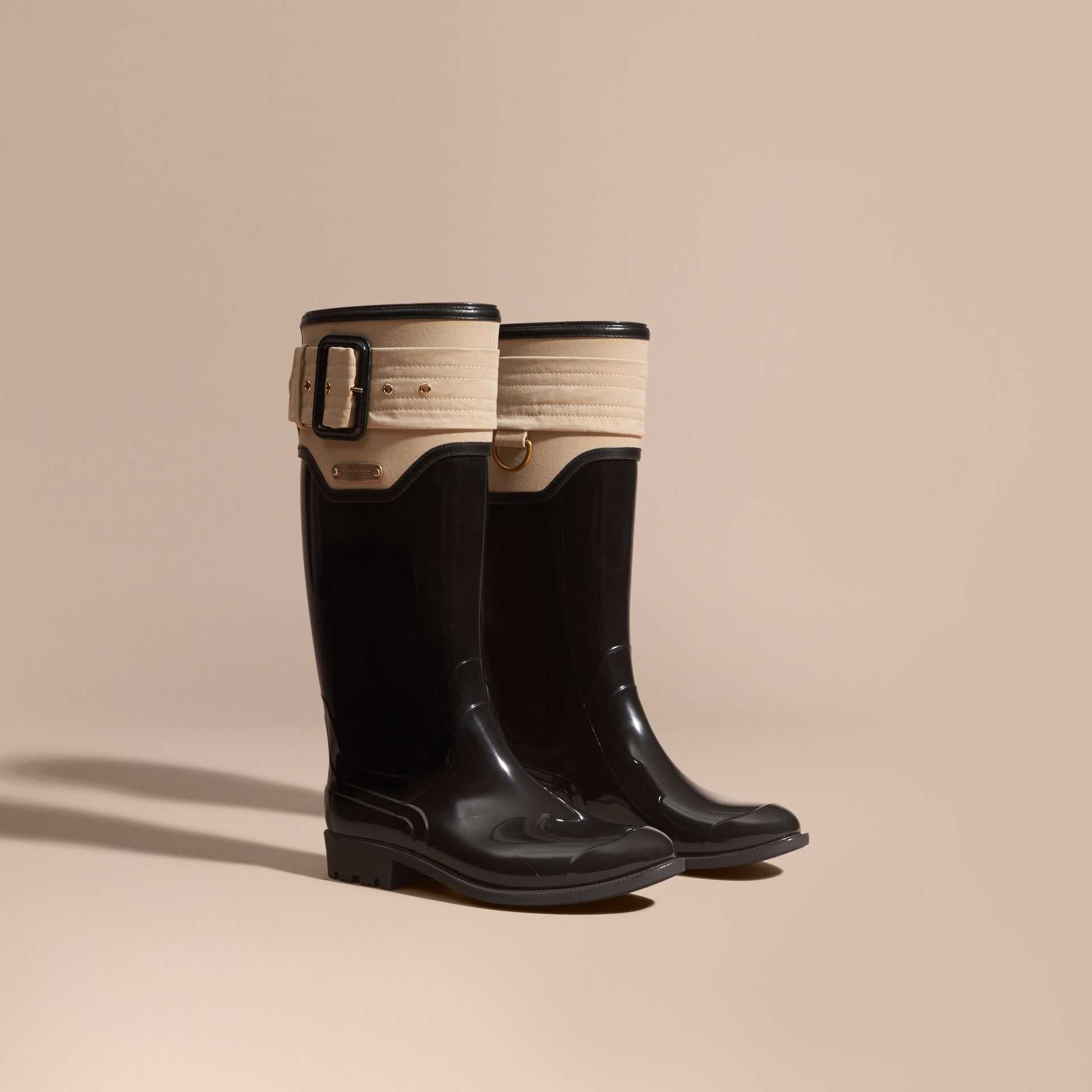 Black/honey Trench Belt Detail Rain Boots - gallery image 1