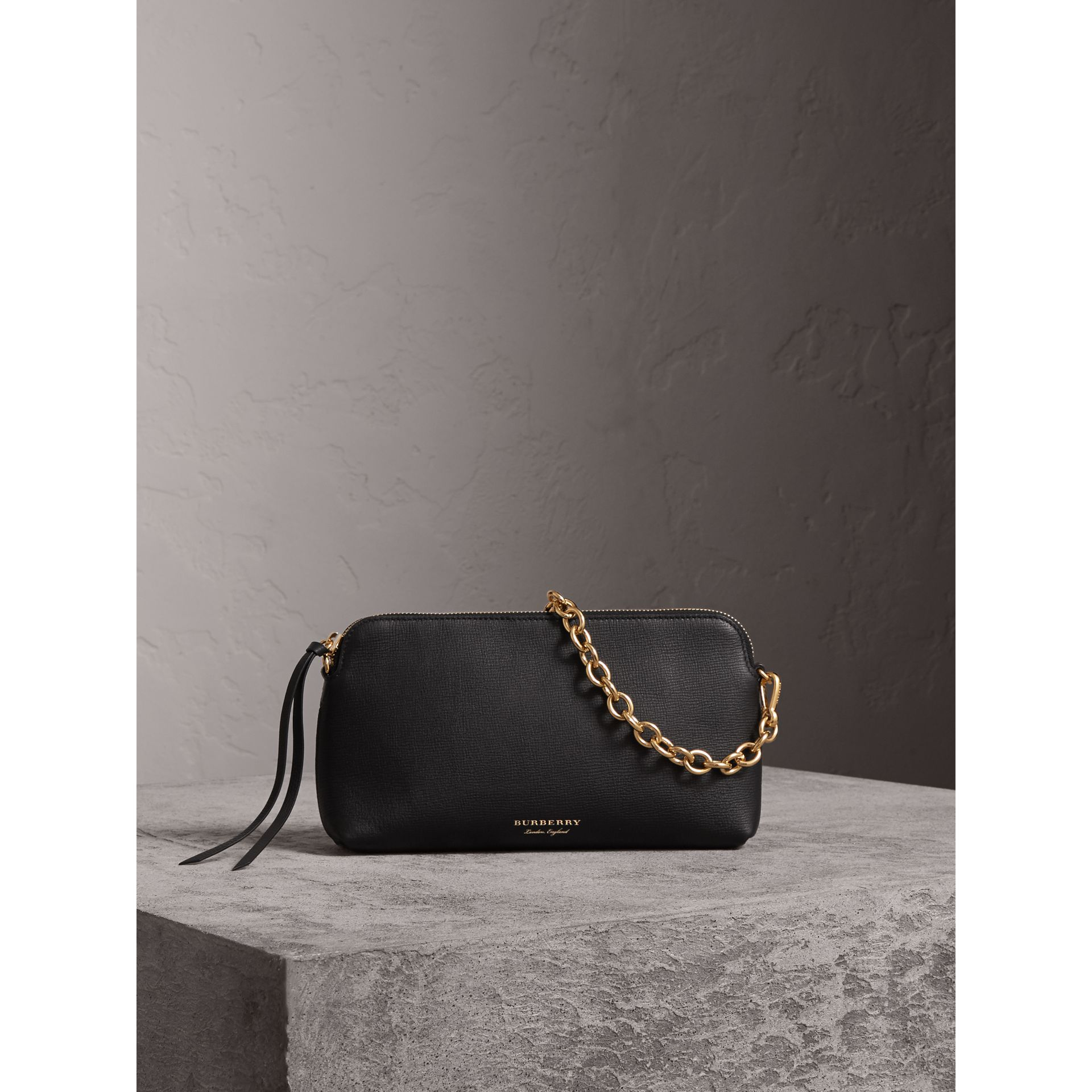 Grainy Leather Clutch Bag in Black - Women | Burberry - gallery image 0
