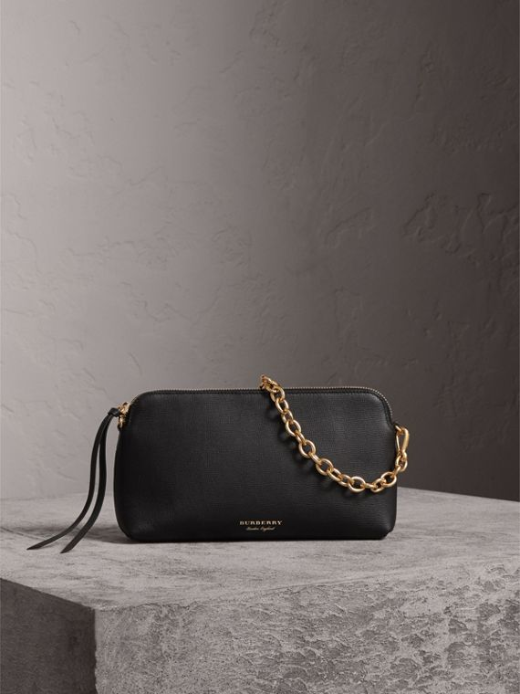 Grainy Leather Clutch Bag in Black - Women | Burberry