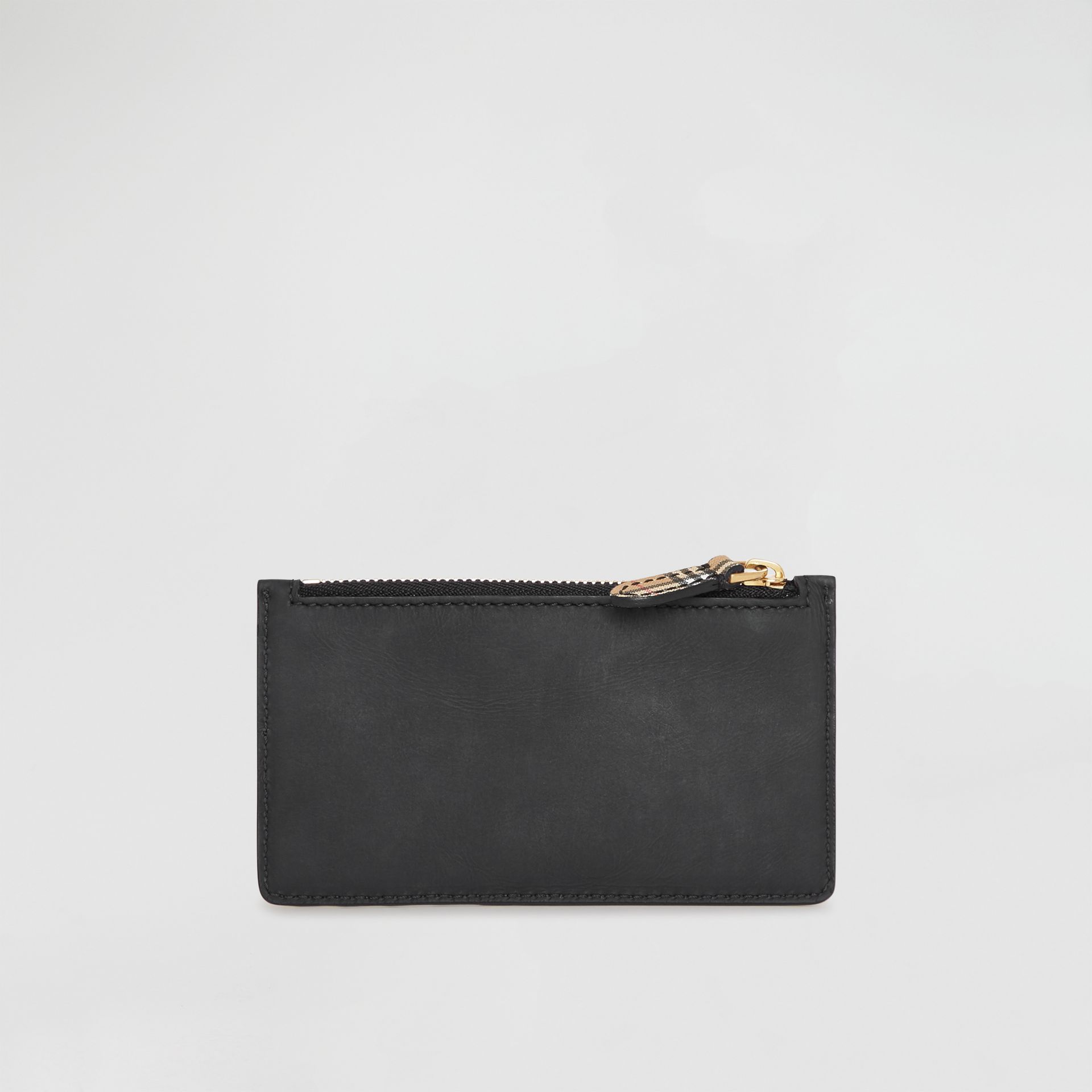 Small Scale Check and Suede Card Case in Black - Women | Burberry - gallery image 2