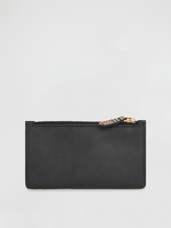Small Scale Check and Suede Card Case in Black - Women | Burberry - cell image 2