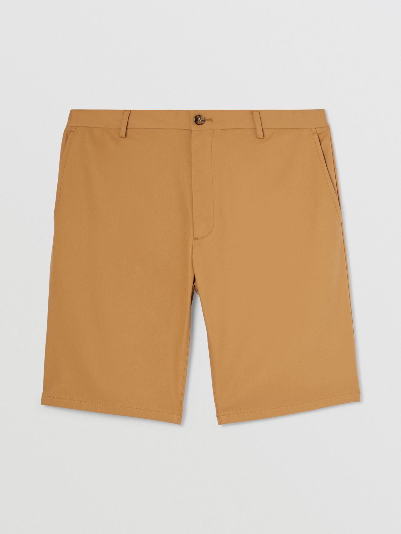 Logo Appliqué Cotton Twill Chino Shorts in Camel