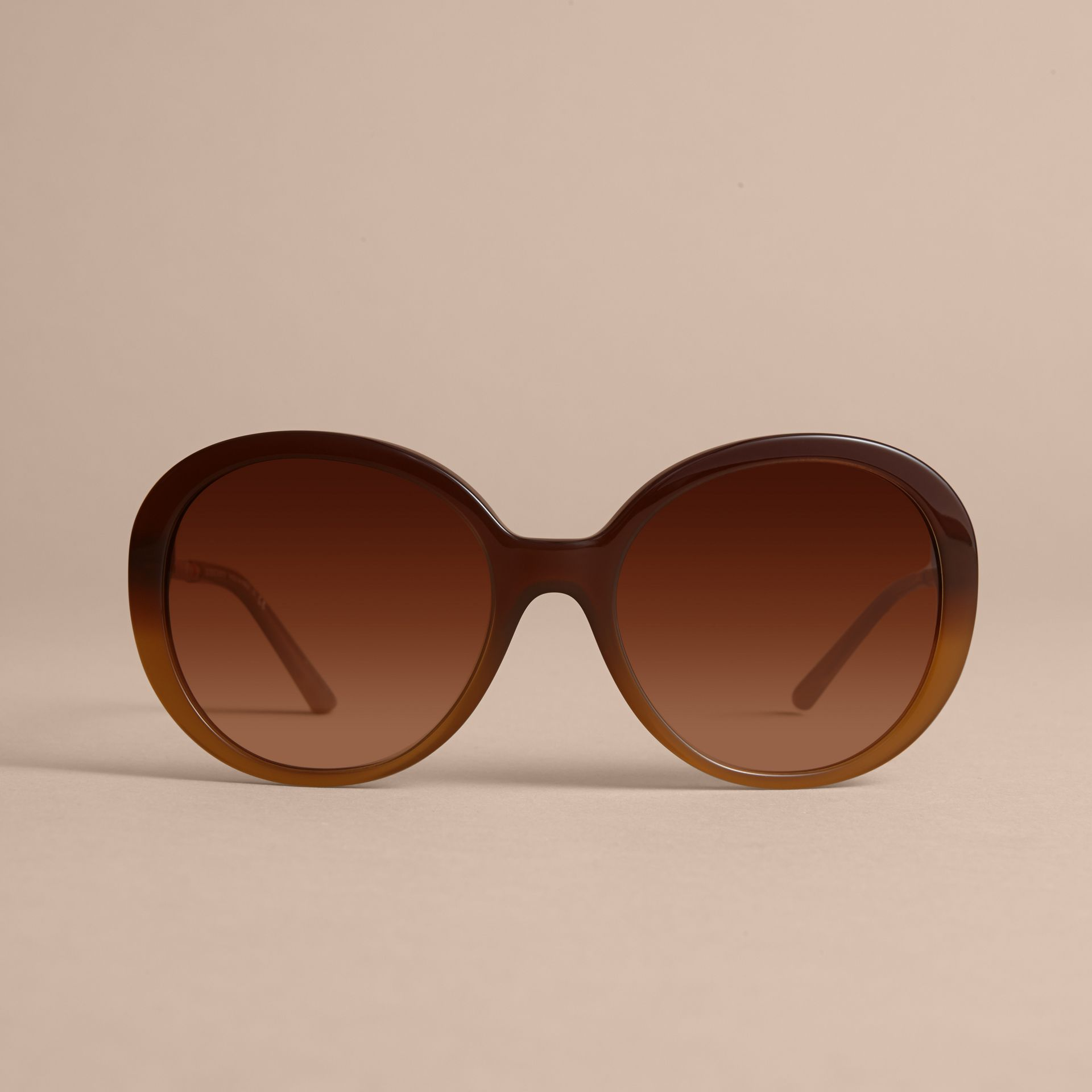 Check Detail Round Frame Sunglasses in Amber - Women | Burberry - gallery image 3