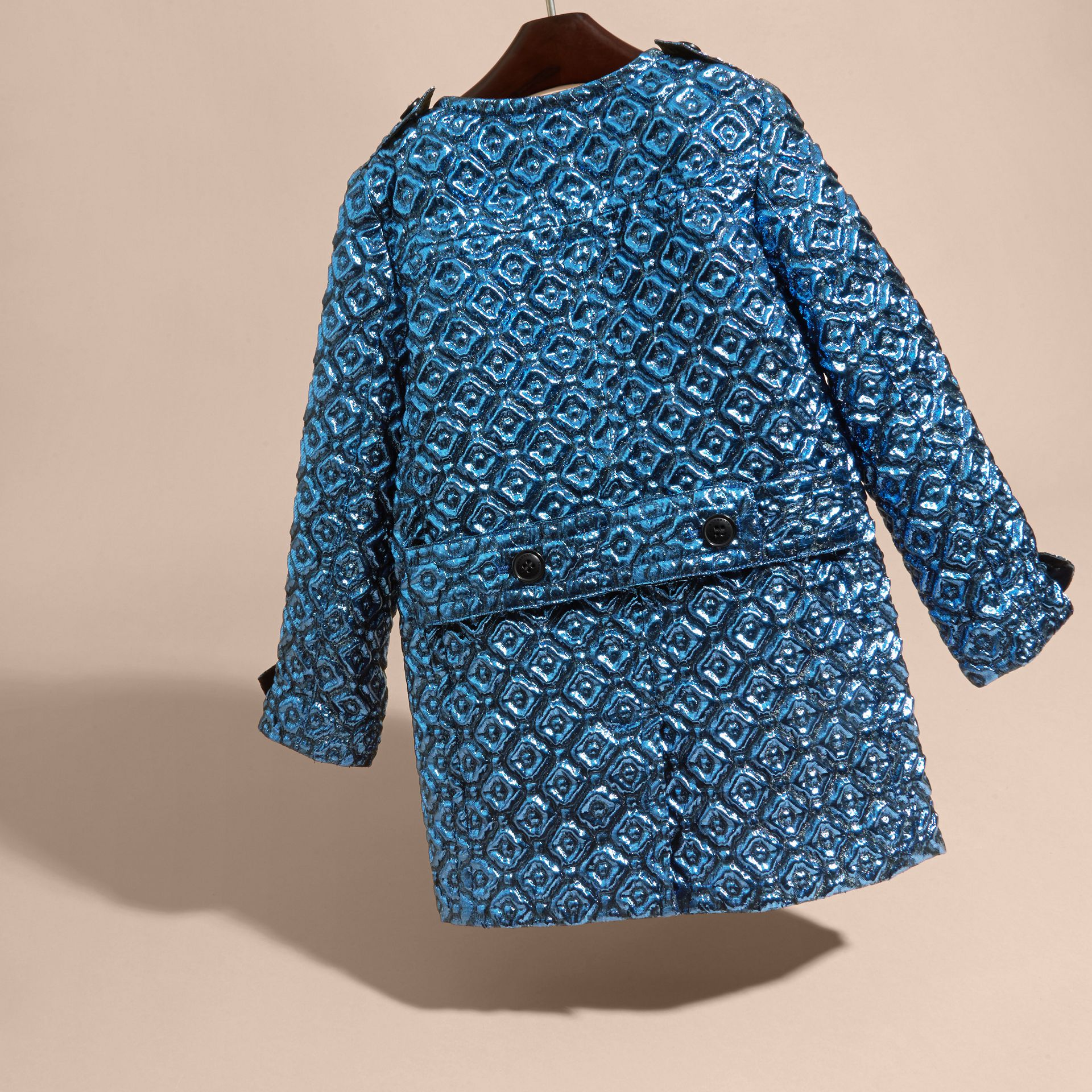 Diamond Matelassé Cocoon Coat in Steel Blue - gallery image 4