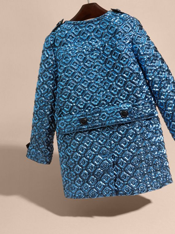 Diamond Matelassé Cocoon Coat in Steel Blue - cell image 3