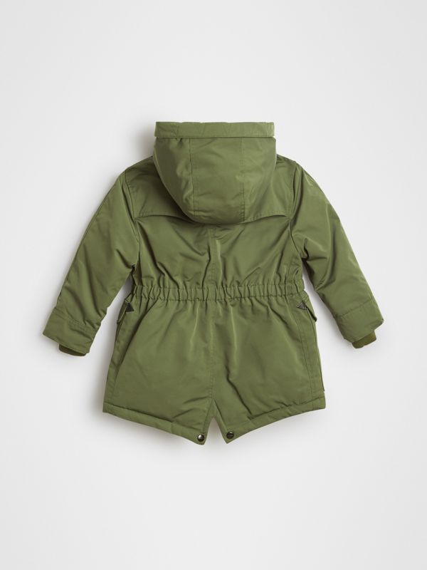 Detachable Hood Down-filled Parka Coat in Sage | Burberry - cell image 3