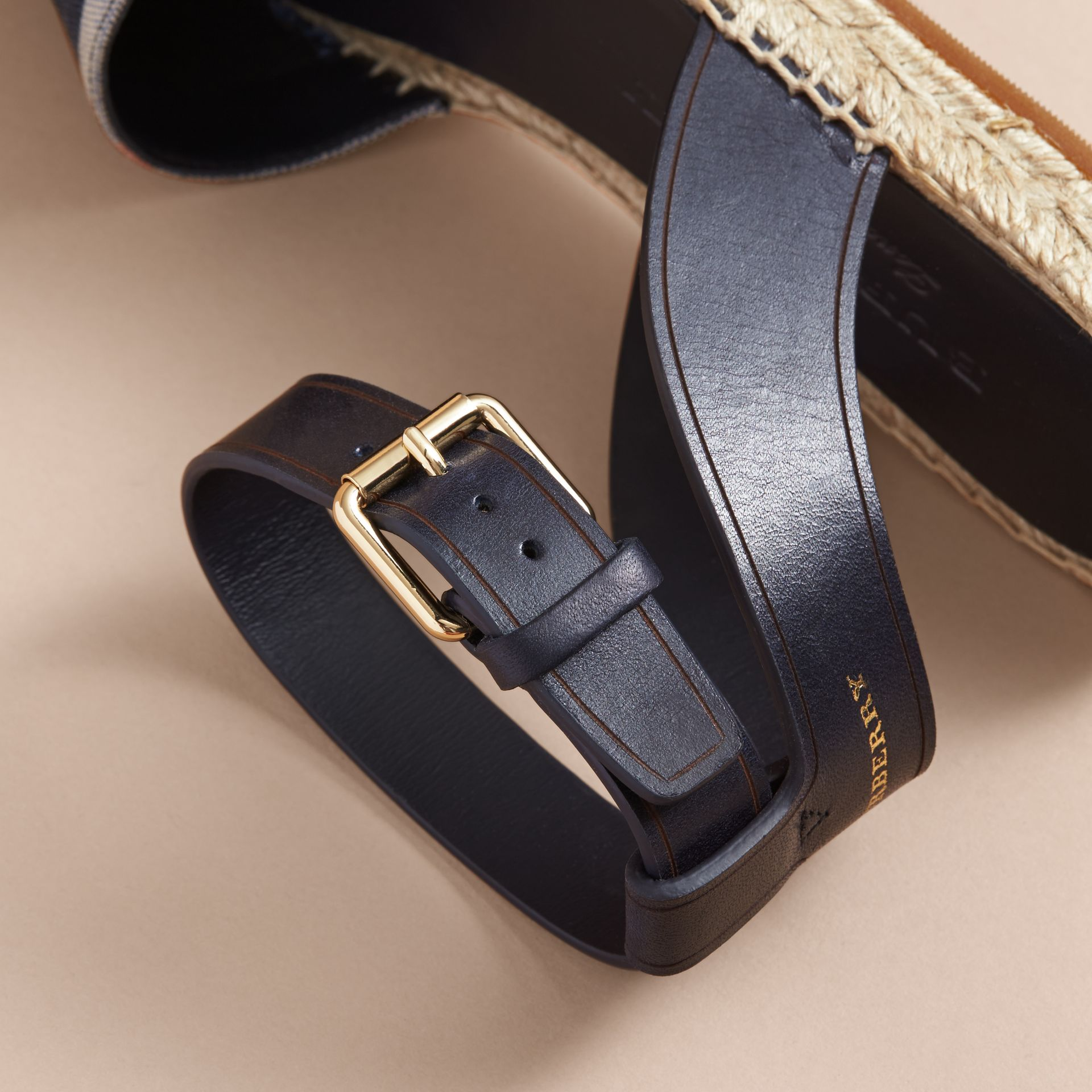Leather and Check Linen Cotton Espadrille Sandals in Navy - Women | Burberry - gallery image 2