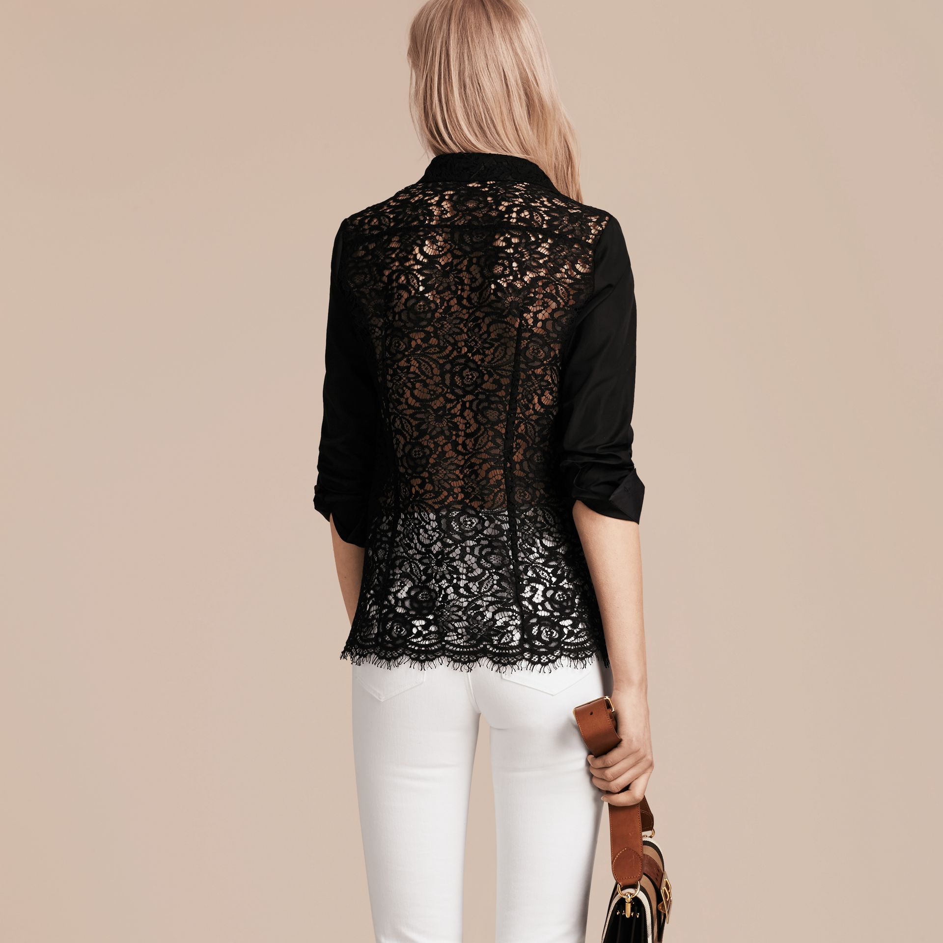 Black Macramé Lace Detail Cotton Shirt - gallery image 6