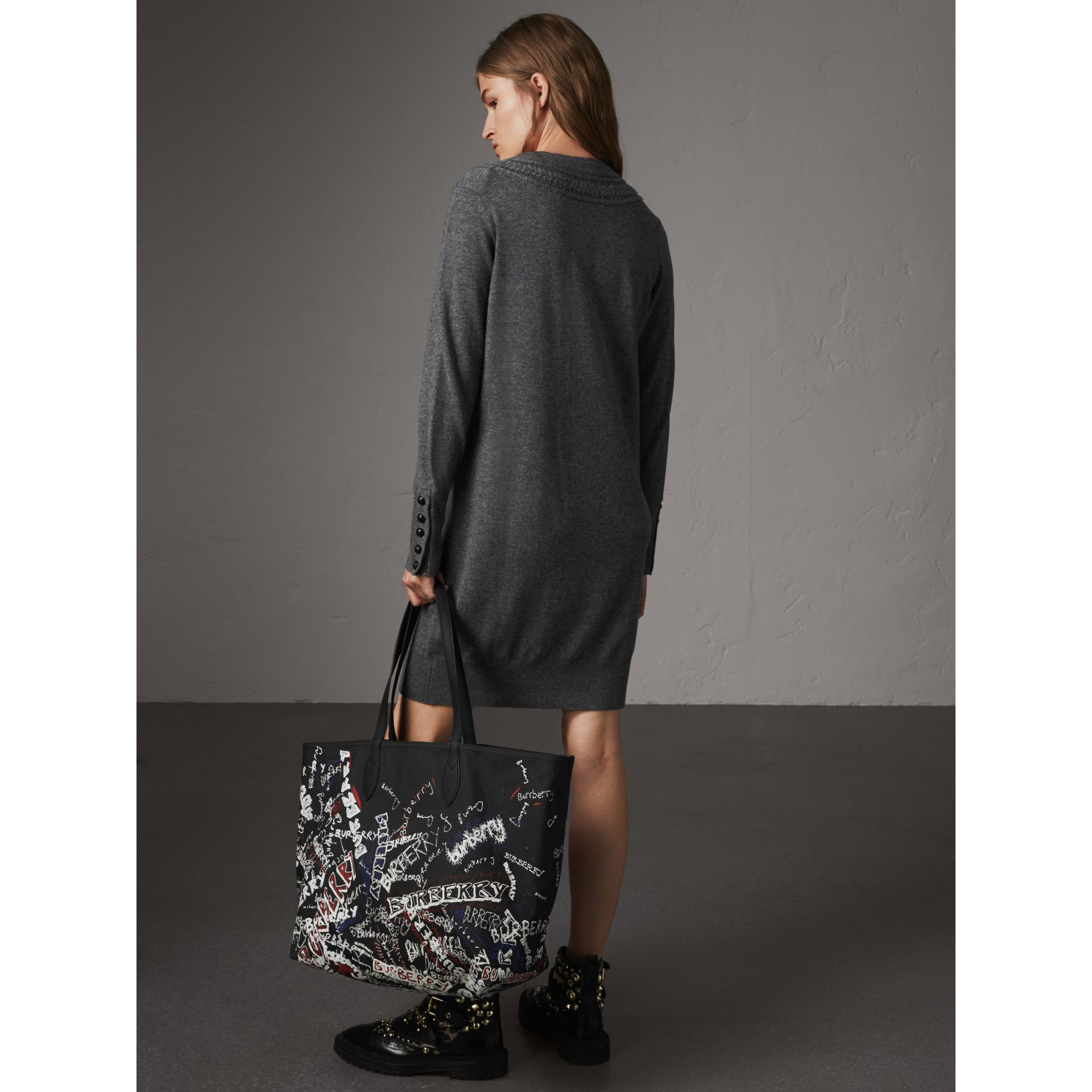 Knitted Wool Cashmere Sweater Dress in Mid Grey Melange - Women | Burberry - gallery image 3