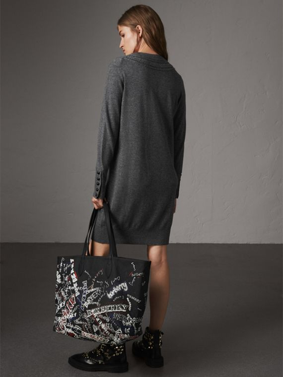 Knitted Wool Cashmere Sweater Dress in Mid Grey Melange - Women | Burberry Australia - cell image 2
