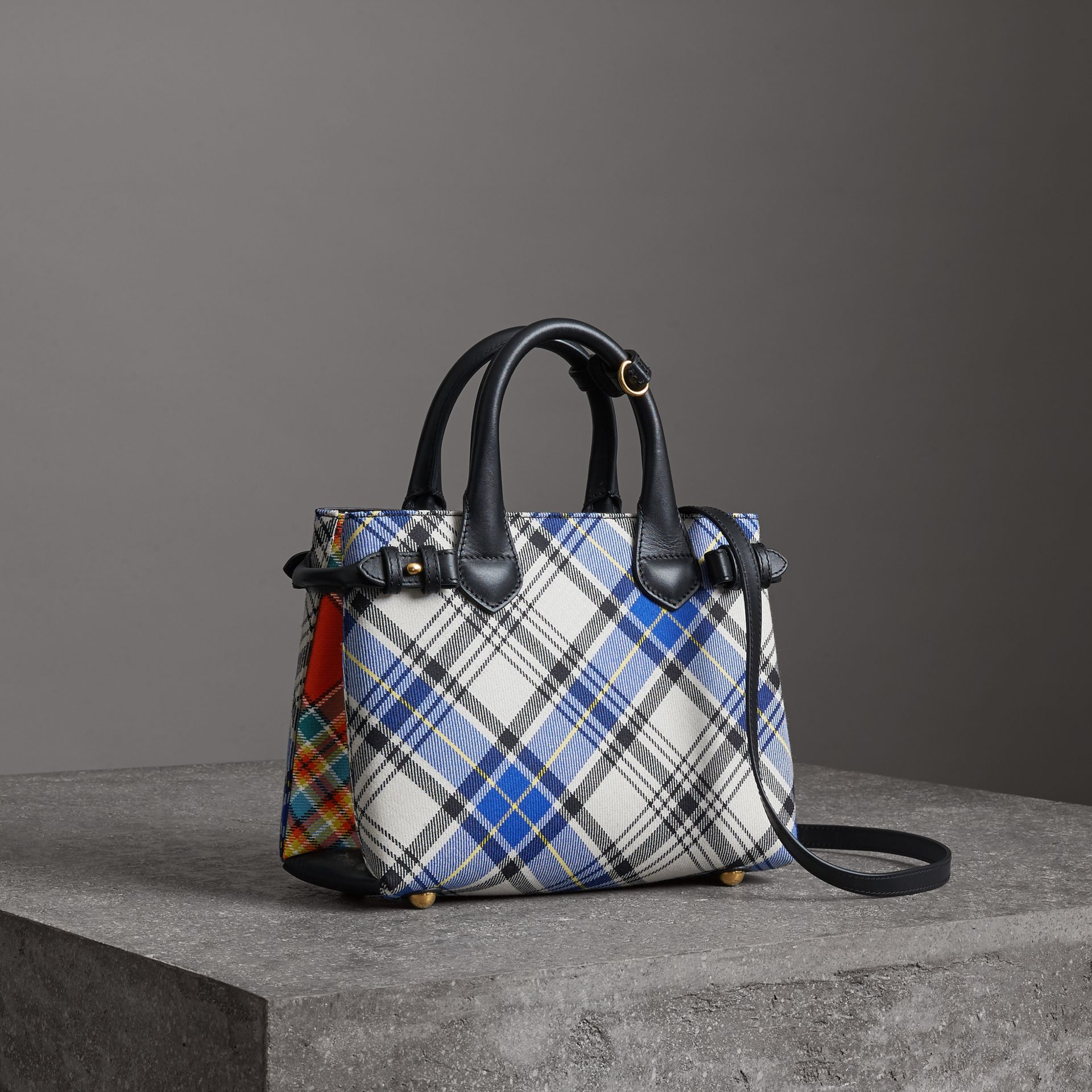 The Small Banner in Tartan and Leather in Chalk White - Women | Burberry - gallery image 0