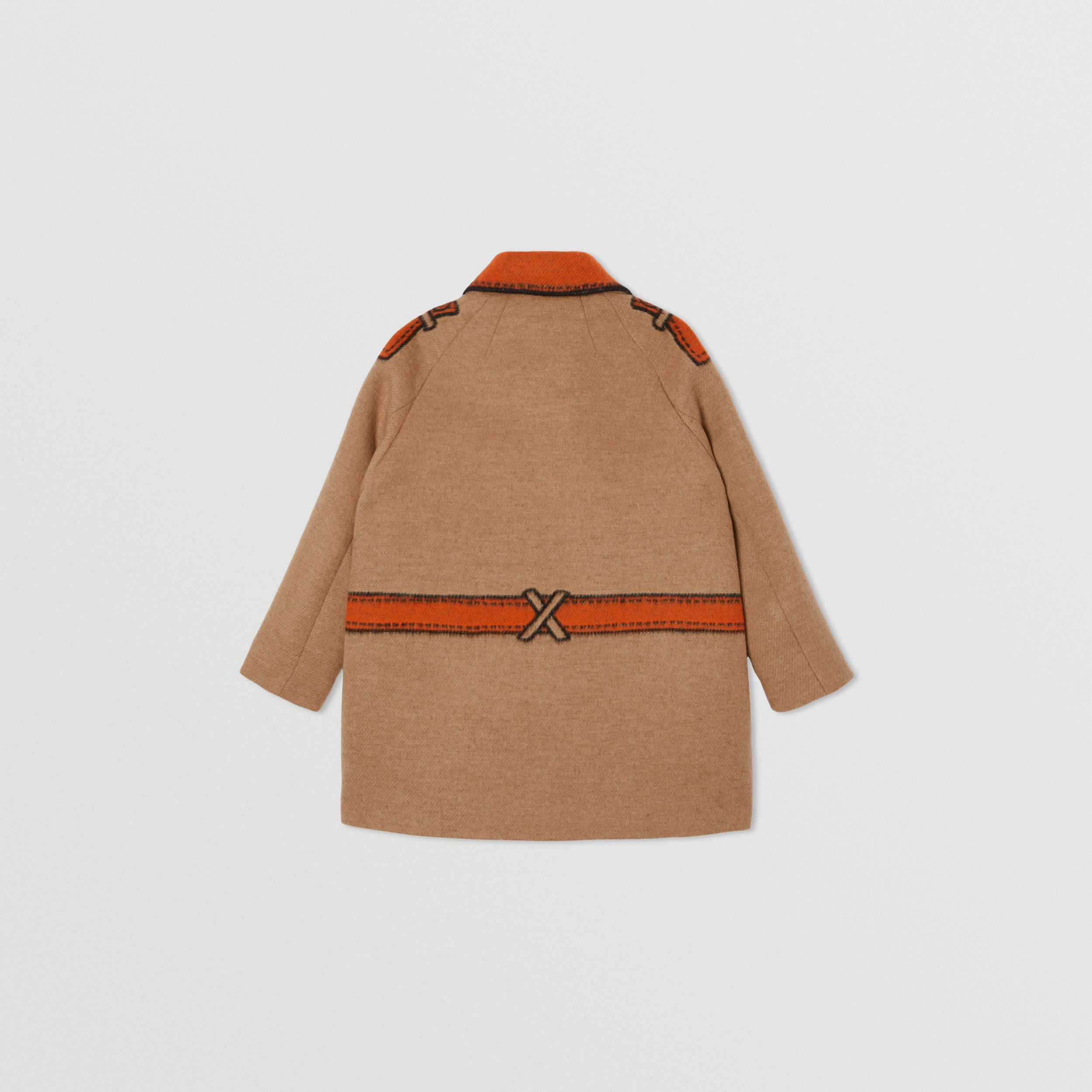 Trompe L'Oeil Wool Jacquard Coat in Camel | Burberry - 4