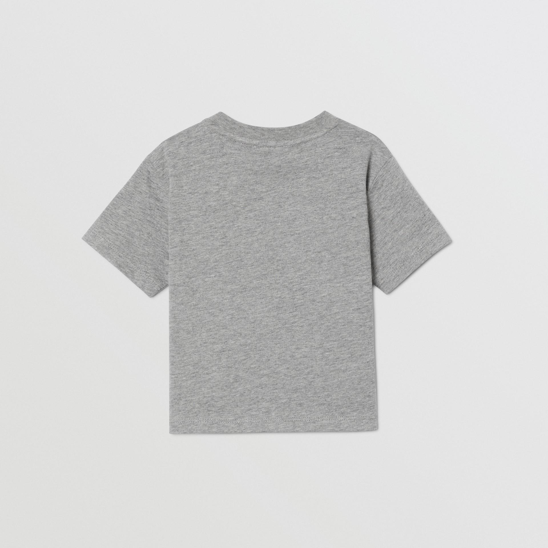 Logo Print Cotton T-shirt in Grey Melange - Children   Burberry United Kingdom - gallery image 4