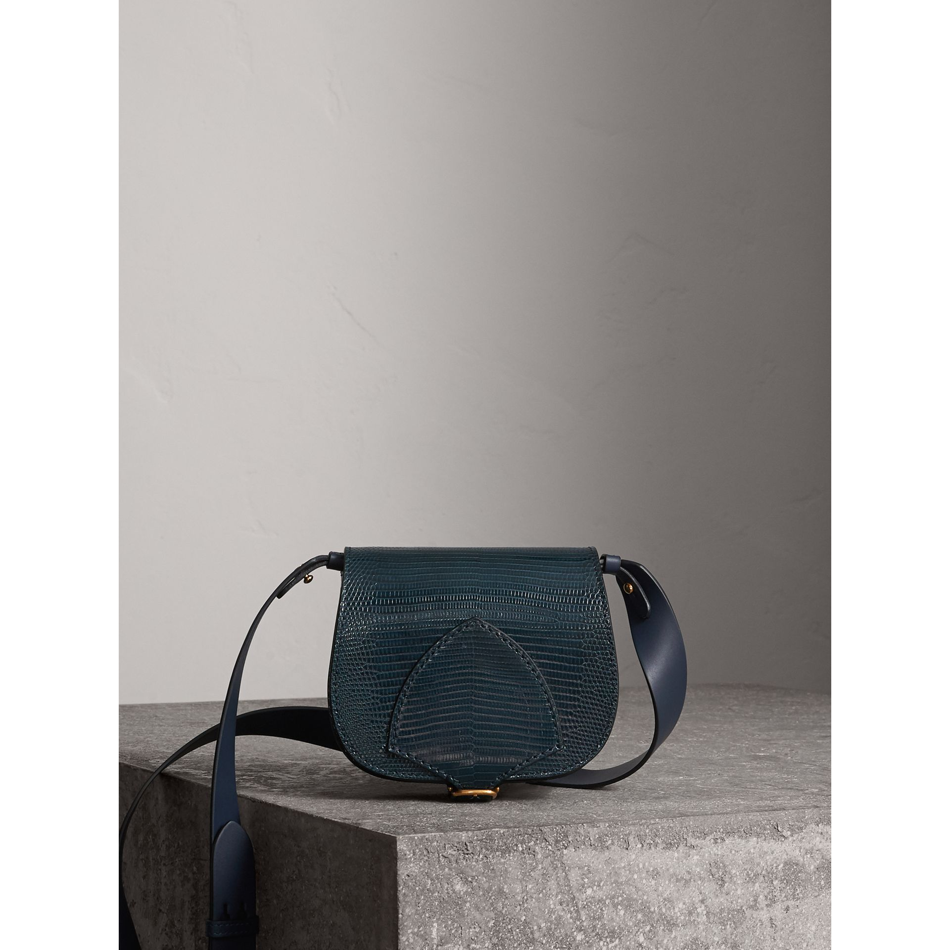 The Satchel in Lizard in Navy - Women | Burberry - gallery image 0