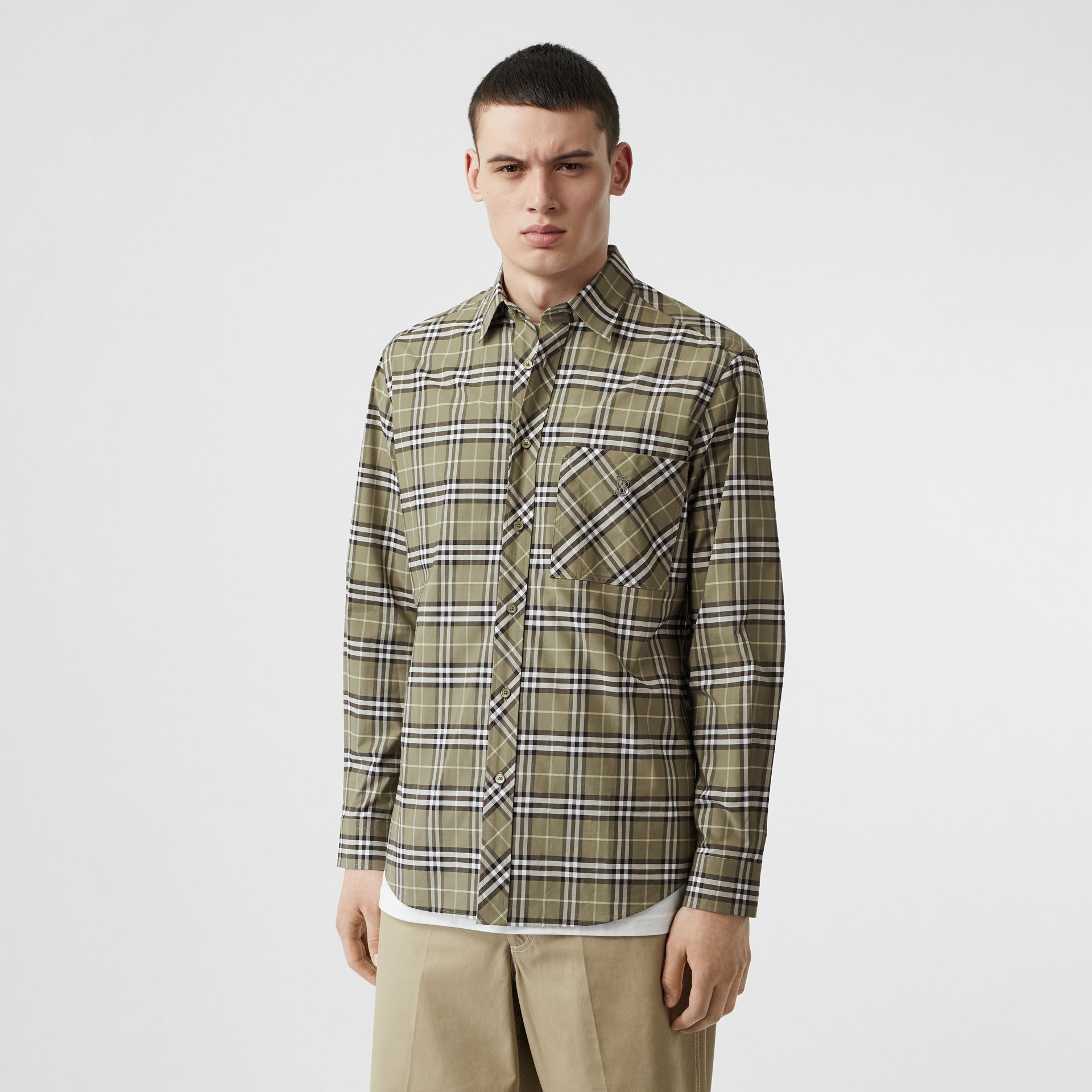 Small Scale Check Stretch Cotton Shirt in Chalk Green - Men | Burberry - gallery image 4
