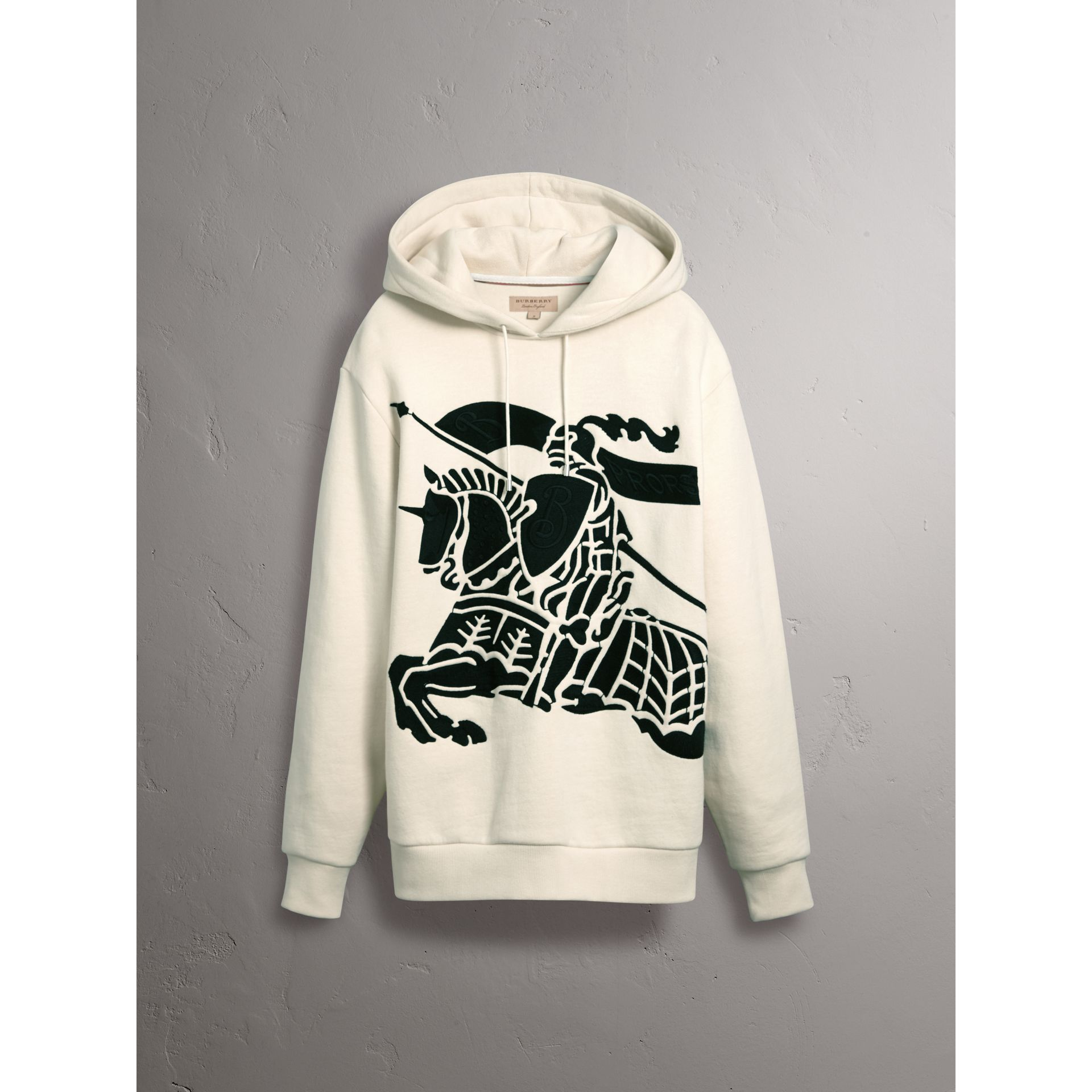 Equestrian Knight Device Cotton Hooded Sweatshirt in Natural White - Women | Burberry - gallery image 3