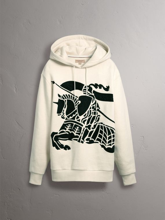 Equestrian Knight Device Cotton Hooded Sweatshirt in Natural White - Women | Burberry United Kingdom - cell image 3