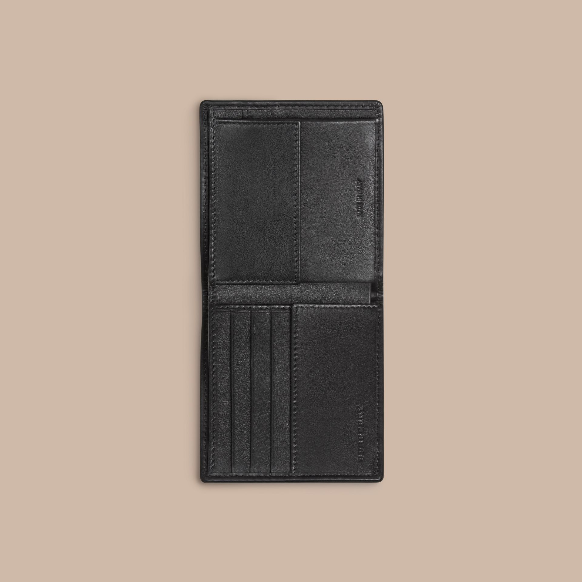 Horseferry Check International Bifold Coin Wallet in Charcoal/black - Men | Burberry Hong Kong - gallery image 4