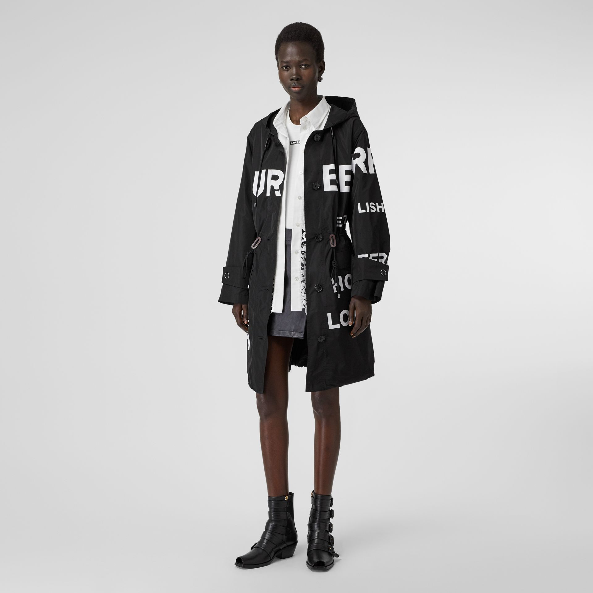 Horseferry Print Nylon Parka in Black - Women | Burberry - gallery image 0